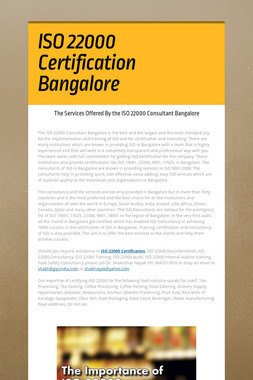 ISO 22000 Certification Bangalore