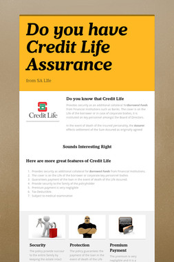 Do you have Credit  Life Assurance