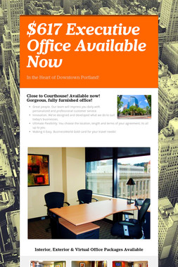 $617 Executive Office Available Now