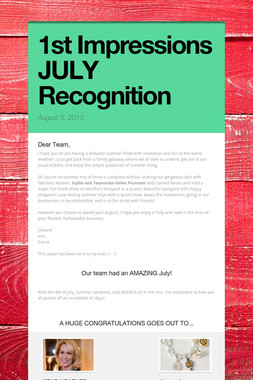 1st Impressions JULY Recognition