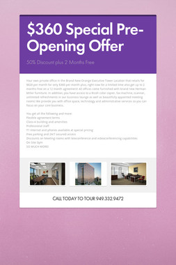 $360 Special Pre-Opening Offer