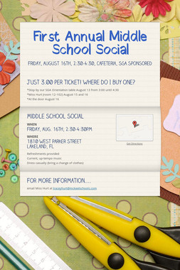 First Annual Middle School Social