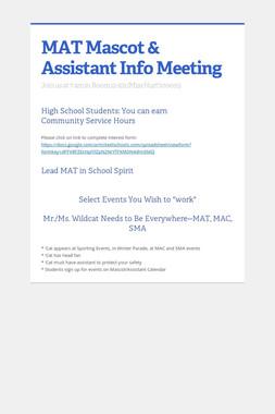 MAT Mascot & Assistant Info Meeting
