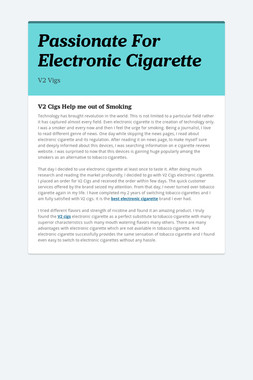 Passionate For Electronic Cigarette