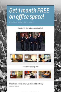 Get 1 month FREE on office space!