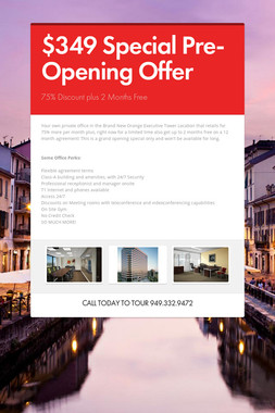 $349 Special Pre-Opening Offer