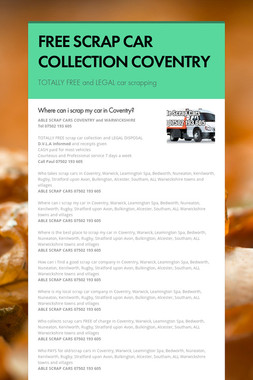 FREE SCRAP CAR COLLECTION COVENTRY