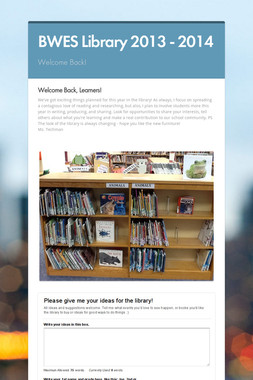 BWES Library 2013 - 2014