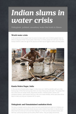 Indian slums in water crisis
