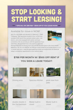 Stop Looking & Start Leasing!