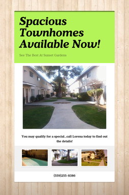 Spacious Townhomes Available Now!