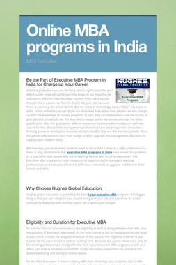 Online MBA programs in India