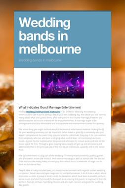 Wedding bands in melbourne