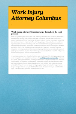 Work Injury Attorney Columbus