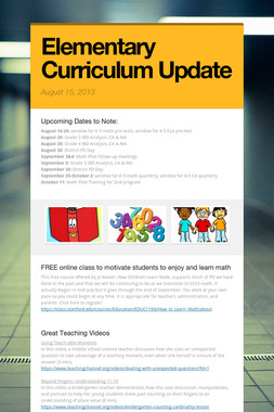 Elementary Curriculum Update