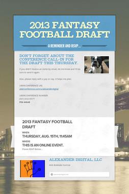 2013 Fantasy Football Draft