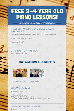 FREE 3-4 Year Old Piano Lessons!
