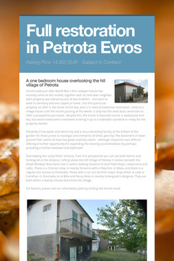 Full restoration in Petrota Evros