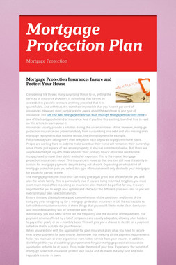 Mortgage Protection Plan