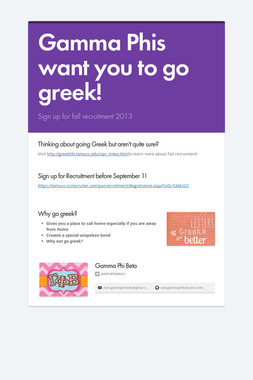 Gamma Phis want you to go greek!