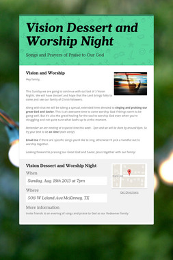 Vision Dessert and Worship Night
