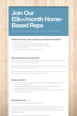 Join Our £5k+/month Home-Based Reps