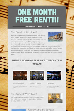ONE MONTH FREE RENT!!!
