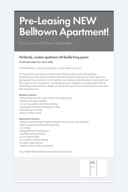 Pre-Leasing NEW Belltown Apartment!