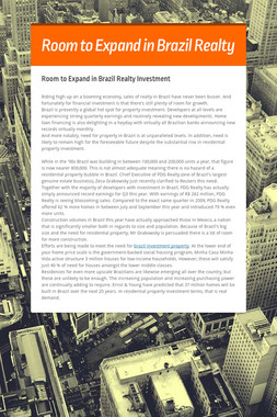 Room to Expand in Brazil Realty