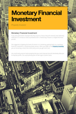 Monetary Financial Investment