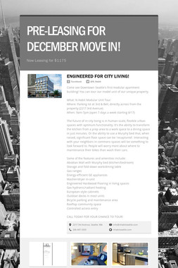 PRE-LEASING FOR DECEMBER MOVE IN!