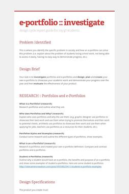 e-portfolio :: investigate