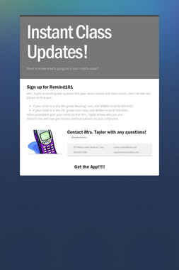 Instant Class Updates!