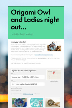 Origami Owl and Ladies night out…
