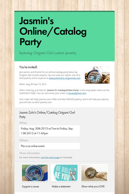 Jasmin's Online/Catalog Party