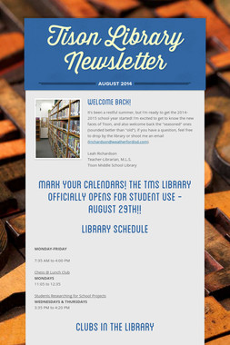 Tison Library Newsletter