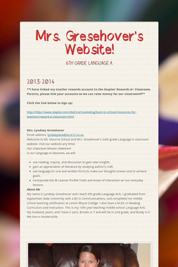 Mrs. Gresehover's Website!
