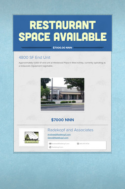 Restaurant  Space Available
