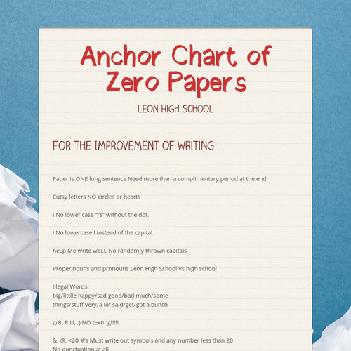 Anchor Chart of Zero Papers