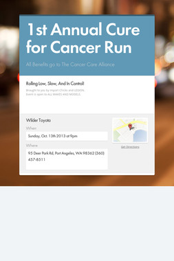 1st Annual Cure for Cancer Run