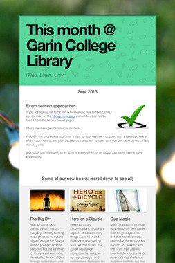 This month @ Garin College Library