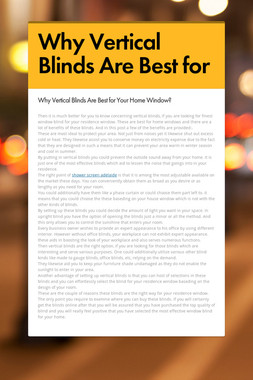 Why Vertical Blinds Are Best for