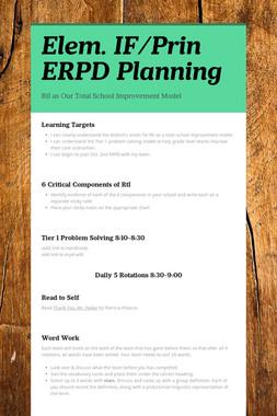 Elem. IF/Prin ERPD Planning
