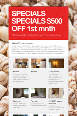 SPECIALS SPECIALS $500 OFF 1st mnth