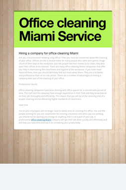 Office cleaning Miami Service