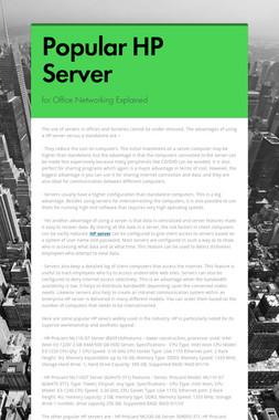 Popular HP Server