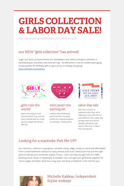 GIRLS COLLECTION & LABOR DAY SALE!