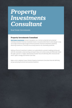 Property Investments Consultant