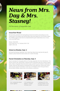 News from Mrs. Day & Mrs. Stasney!