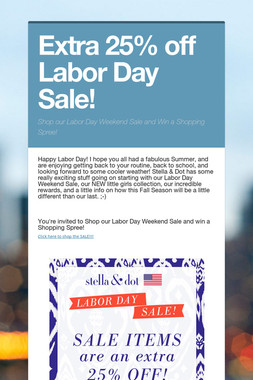 Extra 25% off Labor Day Sale!